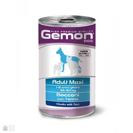 Gemon Adult Maxi, Chunks with Tuna, консервы для собак средних пород, кусочки с говядиной и рисом
