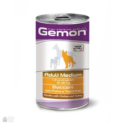Gemon Adult Medium, Chunks with Chicken and Turkey, консервы для собак средних пород, кусочки с Курицей и индейкой