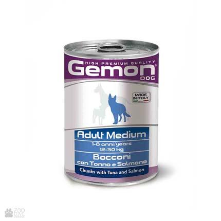 Консервы для собак Gemon Adult Medium, Chunks with Tuna and Salmon, с тунцом и лососем
