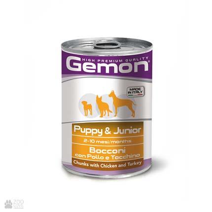 Консервы для собак Gemon Chunks with Chicken and Turkey, с курицей и индейкой