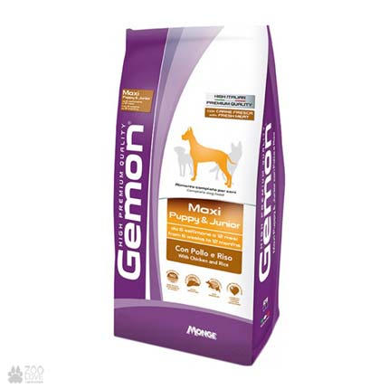 корм для щенков крупных пород Gemon Dog Maxi Puppy & Junior Chicken Rice
