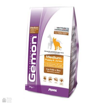корм для собак средних пород Gemon Dog Medium Puppy & Junior Chicken Rice