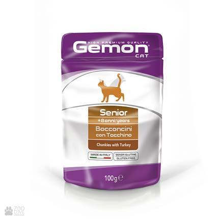 Консервы для кошек Gemon Senior, Chunkies with Turkey с индейкой