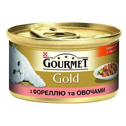 Gourmet Gold для кошек с фореллю, овощами. Кусочки в подливе, 85 (старый дизайн)