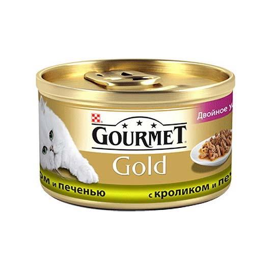 Gourmet Gold для кошек с кролем, печенью. Кусочки в подливе, 85 (старый дизайн)
