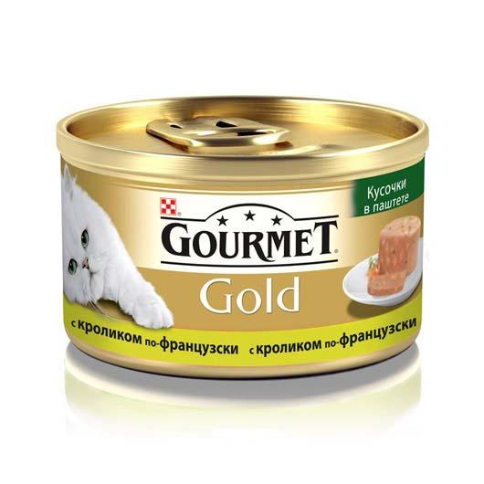 Gourmet Gold для кошек с кроликом. Кусочки в паштете, 85