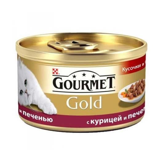 Gourmet Gold для кошек с курицей, печенью. Кусочки в подливе, 85