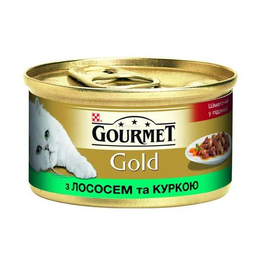 Gourmet Gold для кошек с лососем, курицей. Кусочки в подливе, 85 (старый дизайн)