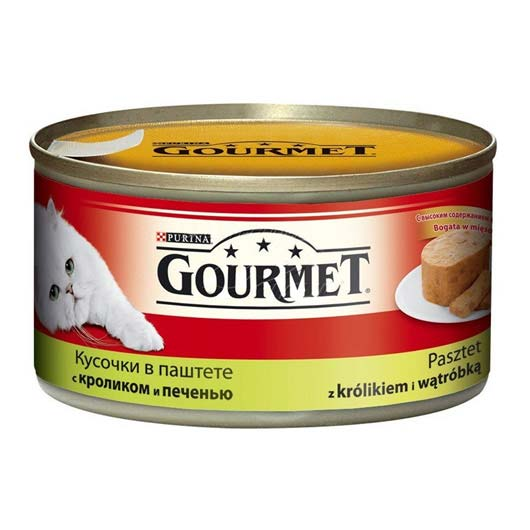 Gourmet для кошек с кролем, печенью. Кусочки в паштете, 195