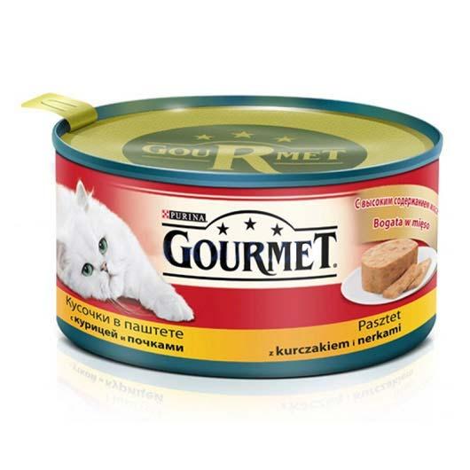 Gourmet для кошек с курицей, почками. Кусочки в паштете, 195