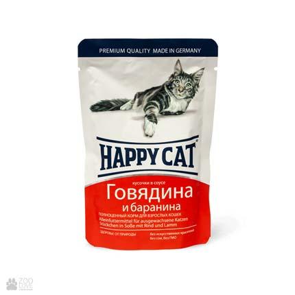 Happy Cat Говядина и баранина, консервы для кошек, кусочки в соусе