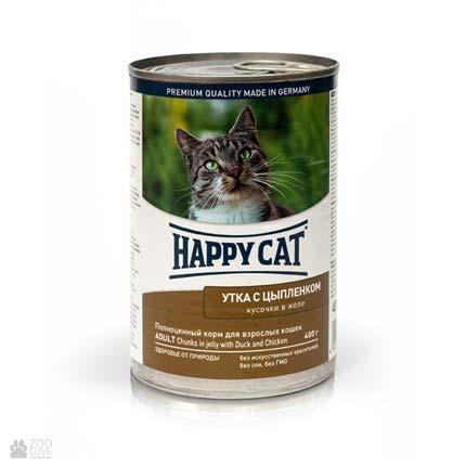 Happy Cat Adult Ente & Huhn Gelee, консервы для кошек с уткой и цыпленком