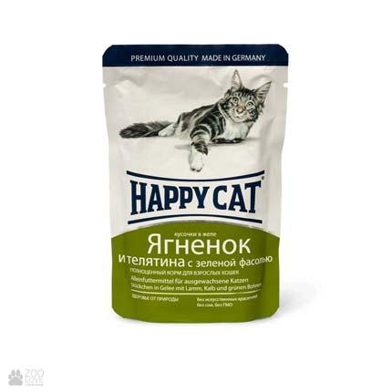 Happy Cat Ягненок, телятина и зеленая фасоль, консервы для кошек с ягненком и телятиной