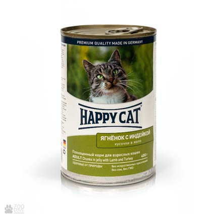 Happy Cat Adult Lamm & Truth Gelee, консервы для кошек с ягненком и индейкой