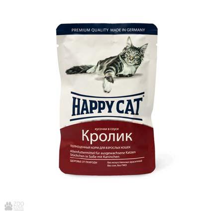 Happy Cat Кролик, консервы для кошек, кусочки в соусе