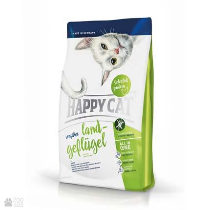 Happy Cat Adult Sensitive Land-Geflugell, сухой корм для кошек с чувствительным пищеварением, с курицей и рисом
