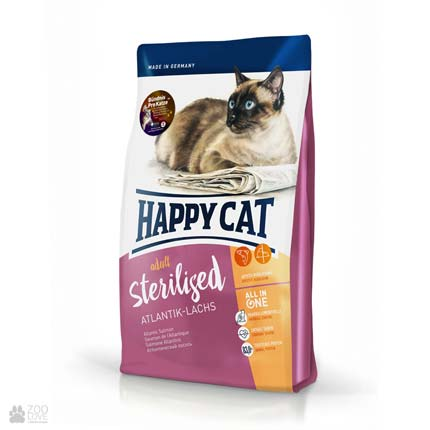 Happy Cat Adult Sterilised Atlantik-Lachs, сухой корм для кошек после стерилизации