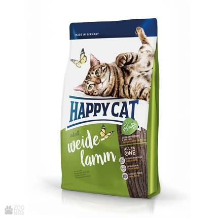 Happy Cat Adult Weide-Lamm, сухой корм для котят в возрасте до 12 месяцев