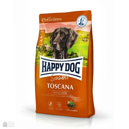 Happy Dog Sensible Toscana, корм для собак с пониженной калорийностью с уткой и лососем