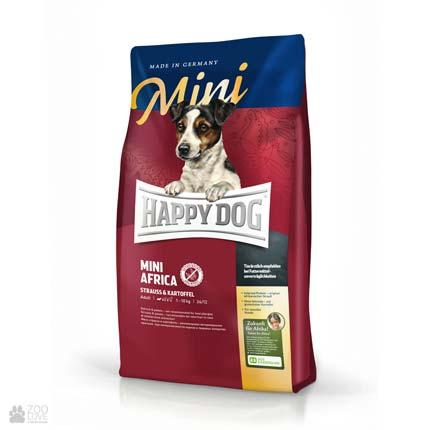 Happy Dog Mini Africa, сухий корм для собак дрібних порід при алергіях та харчовій непереносимості зі страусом та картопляними пластівцями (без злаків