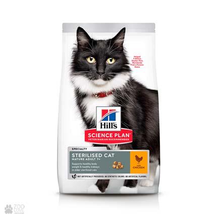 Корм сухой для пожилых стерилизованных кошек Hills Science Plan Sterilised Cat Mature Adult 7+ (дизайн с 2020 года)