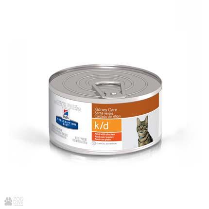 Лечебные консервы Хиллс для кошек с заболеваниями почек Hill's Prescription Diet k/d Kidney Care Chicken