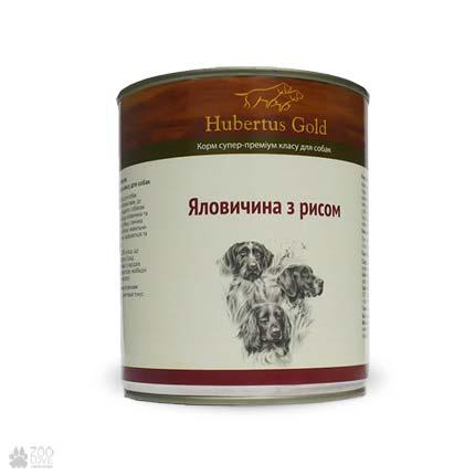 Hubertus Gold с говядиной и рисом, консервы для собак