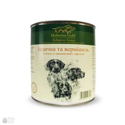 Hubertus Gold с индейкой и вермишелью, консервы для собак