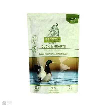 Isegrim Pouch Roots Duck & Hearts, консервы для собак с уткой и куриными сердечками