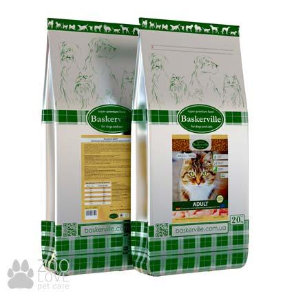 Фото упаковки сухого корма для взрослых котов Baskerville Adult Cat 20 кг