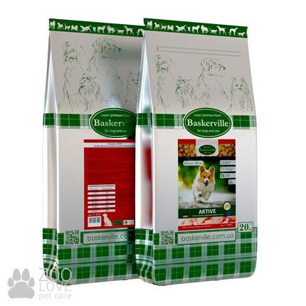 Фото упаковки сухого корма для собак, ведущих активній образ жизни Baskerville Active Dog 20 кг