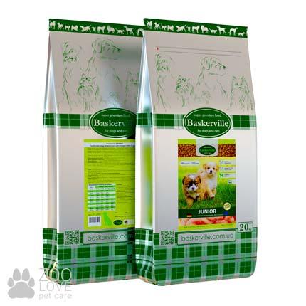 Фото упаковки сухого корма для щенков Baskerville Junior Dog 20 кг