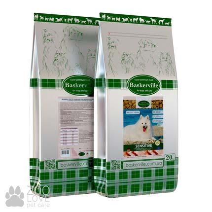 Фото упаковки сухого корма для собак с чувствительным пищеварением Baskerville Adult Sensitive Dog 20 кг