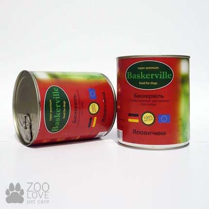 Фото консервированного корма для собак Baskerville, с говядиной, 800 г банка