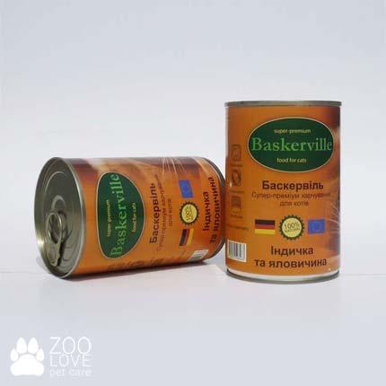 Фото консервированного корма для кошек Baskerville, с индейкой и говядиной, 400 г банка