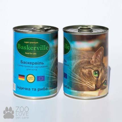 Фото консервированного корма для кошек Baskerville, с индейкой и рыбой, 400 г банка