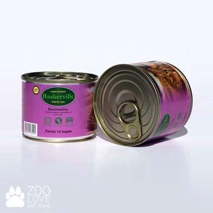 Фото консервированного корма для кошек Baskerville, с индейкой и уткой, 200 г банка