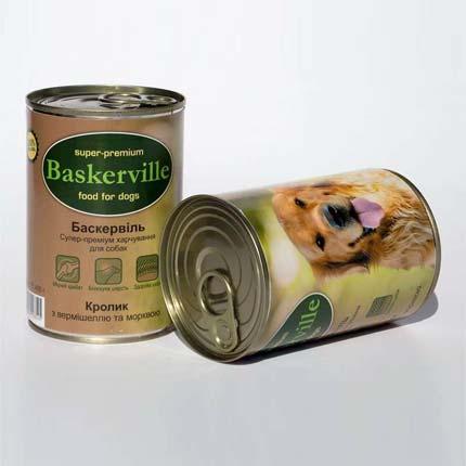 Фото банки Baskerville, консервы для собак, с кроликом, вермишелью и морковью, 400 г