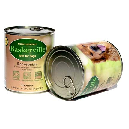 Фото банки Baskerville, консервы для собак, с кроликом, вермишелью и морковью, 800 г