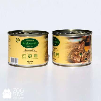 Фото консервированного корма для кошек Baskerville, с ципленком и рисом, 200 г банка