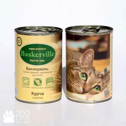 Фото консервированного корма для кошек Baskerville, с ципленком и рисом, 400 г банка
