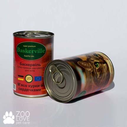 Фото консервированного корма для кошек Baskerville, с лососем, 400 г банкас курицей и сердечками