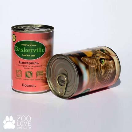 Фото консервированного корма для кошек Baskerville, с лососем, 400 г банка