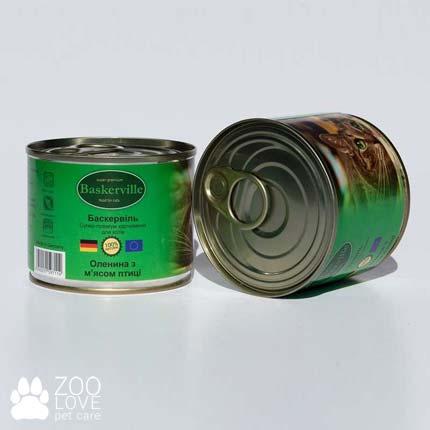 Фото консервированного корма для кошек Baskerville, с лососем, 200 г банка с олениной и курицей