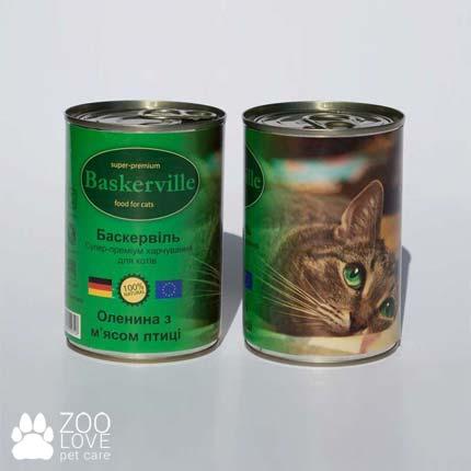 Фото консервированного корма для кошек Baskerville, с лососем, 400 г банка с олениной и курицей