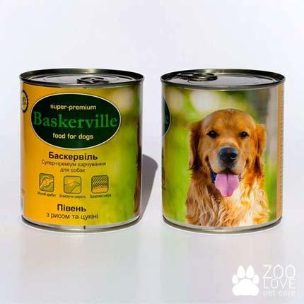 Фото консервированного корма для собак Baskerville, с мясом петуха, рисом и цукини, 800 г банка