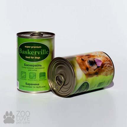 Фото банки Baskerville, консервы для собак, с бараниной, картофелем и тыквой, 400 г