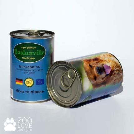 Фото консервированного корма для собак Baskerville, с ягненком и петухом, 400 г банка