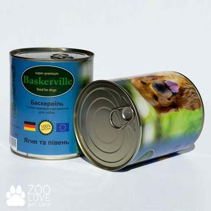 Фото консервированного корма для собак Baskerville, с ягненком и петухом, 800 г банка