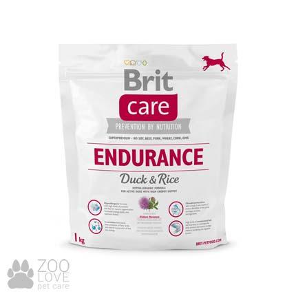 Фото упаковки сухого корма для активных собак всех пород Brit Care Endurance 1 кг